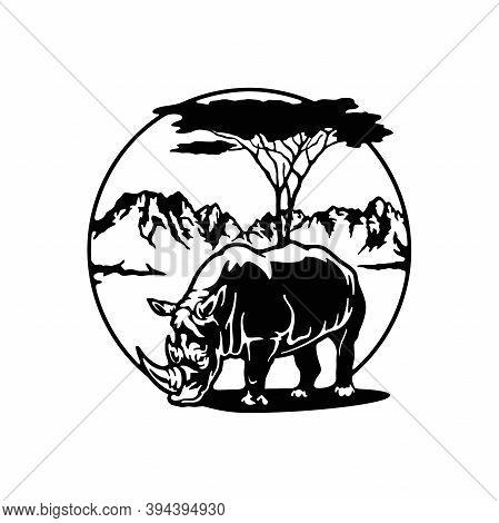 Rhino, Africa, African Landscape Wildlife, Wildlife Stencils - Forest Silhouettes For Cricut, Wildli