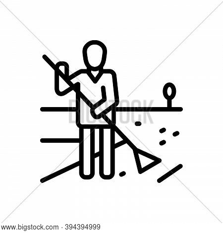 Black Line Icon For Responsibility Amenableness Authority Management Sweeper Swabber Obligation Keep