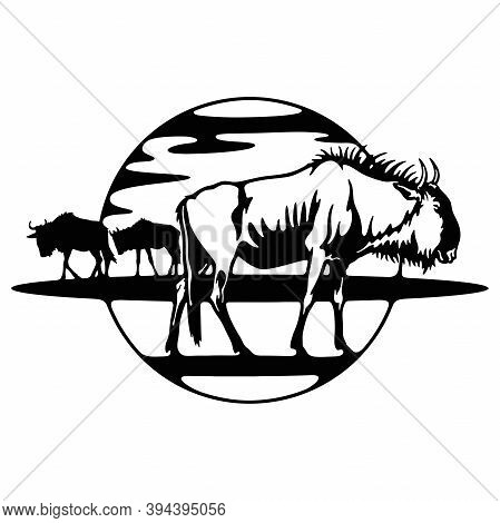 Wildebeest - Savanna, Africa Wildlife, Wildlife Stencils - Forest Silhouettes For Cricut, Wildlife C