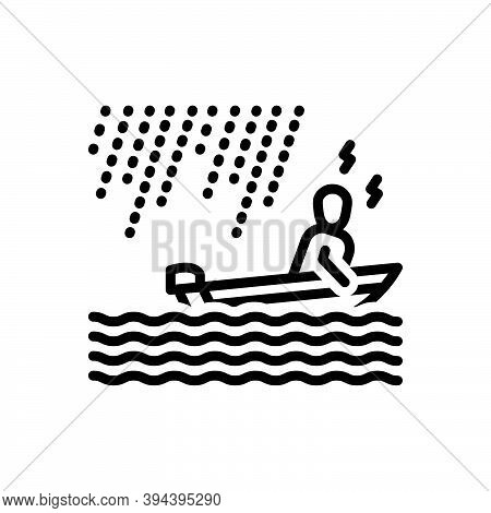 Black Line Icon For Somehow In-some-way In-some-manner River Boating Wave Raindrops Rainstorm