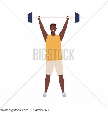 Athletic Man In Sportswear Lifts Heavy Barbell To Overhead. Young Muscular Weightlifter Isolated On