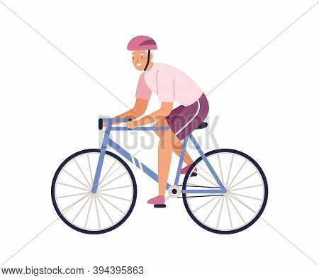 Elderly Female Character Riding Bicycle In Sportswear. Happy Sportswoman Cycling Isolated On White.
