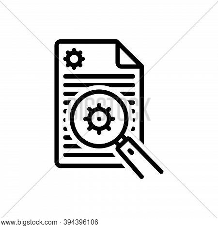 Black Line Icon For Analyze Examine Inspect Survey Search Analyzing Magnifying Explore