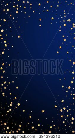 Gold Stars Random Luxury Sparkling Confetti. Scattered Small Gold Particles On Dark Blue Background.