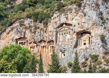 Ancient Ruins. Tombs Hollowed Out Of The Rocks. Kings Tombs Of Kaunos Near Dalyan, Turkey. Turkish L