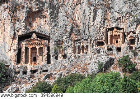 Wonder From Ancient Civilizations : Lycian Rock Tombs Of Kaunos Near Dalyan, Southern Turkey. Turkis