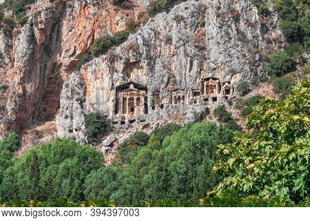 Tombs Of Ancient Lycian Kings In The Rock. Group Of Rock Cut Tombs Of Ancient Kings. Lycian Tombs Of