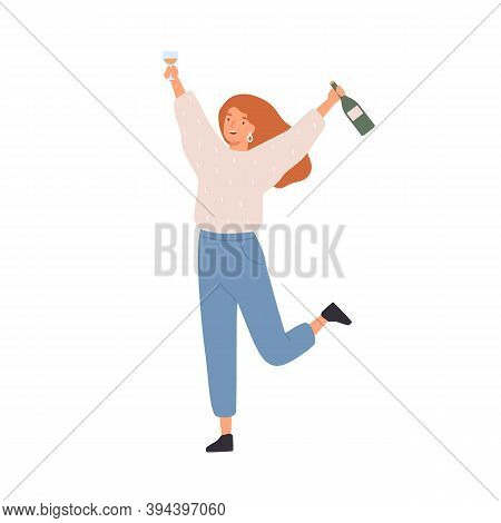 Happy Celebrating Woman With Holding A Bottle Of Champagne And A Wine Glass. Young Female Character