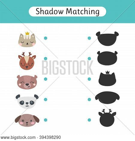 Find The Correct Shadow. Shadow Matching Game For Kids. Worksheets With Animals. Kids Activity For P