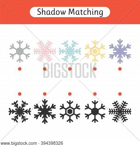 Matching Game For Kids. Worksheet With Christmas Snowflakes. Find The Correct Pair. Kids Activity Fo