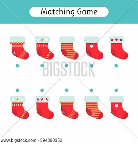 Matching Game For Kids. Worksheet. Christmas Socks. Find The Correct Pair. Kids Activity For Prescho