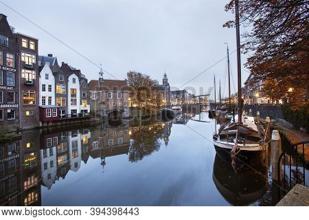 Rotterdam, Netherlands - November 10, 2020: Historical House Boats Moored In Delfshaven In Rotterdam