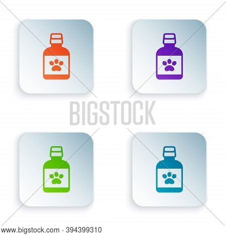 Color Dog Medicine Bottle Icon Isolated On White Background. Container With Pills. Prescription Medi