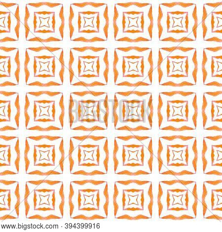 Textile Ready Amusing Print, Swimwear Fabric, Wallpaper, Wrapping.  Orange Extra Boho Chic Summer De