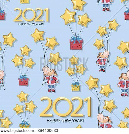 Calf. Pattern. Bull. New Year 2021. Vector Background, Seamless Template. Cute Little Calf, Balloon
