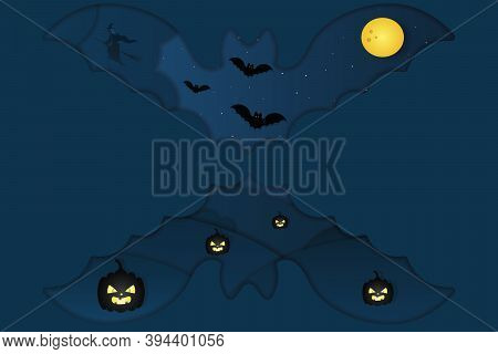 Halloween. Mystical Landscape. Bat-shaped Window. A Witch On A Broomstick Flies In The Sky. Full Moo