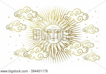 Magic Banner For Astrology, Tarot, Boho Design. Universe, Golden Sun With Face And Clouds On White I