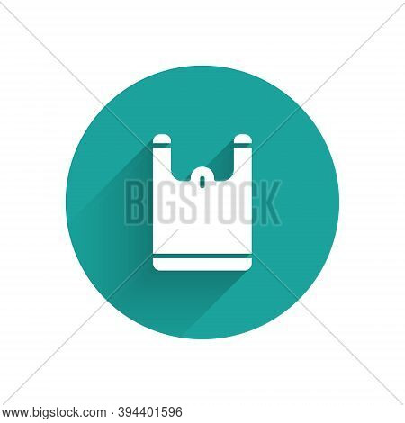 White Plastic Bag Icon Isolated With Long Shadow. Disposable Cellophane And Polythene Package Prohib