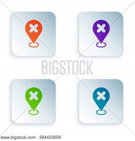 Color Map Pin With Cross Mark Icon Isolated On White Background. Navigation, Pointer, Location, Map,