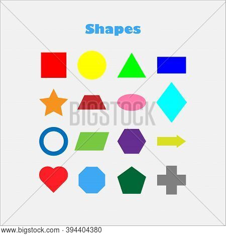 Different Colorful Geometric Shapes For Children, Fun Education Game For Kids, Preschool Activity, S