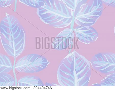 Painted English Rose Leaf Patterns Collection. Repeated Spring Peony Wallpaper. Proton Purple Rose L