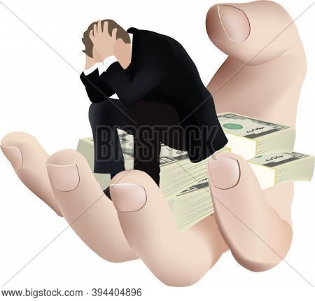 Desperate Person Sitting Over Pile Of Currency