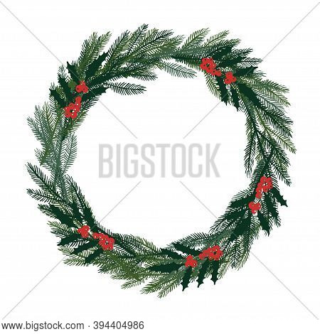 Christmas Wreath. Evergreen Branches And Red Berries Frame With Place For Date, Inscription, Text, P