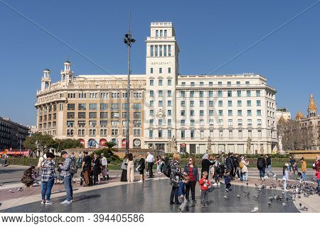 Barcelona, Spain - Feb 24, 2020: Iberostar Hotel Building On Plaza De Catalunya In Winter