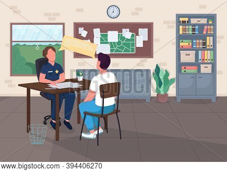 Police Office Flat Color Vector Illustration. Legal Department. Cop Interview Victim For Report. Pol
