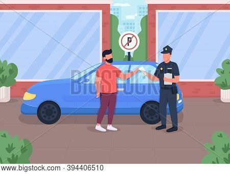 Traffic Ticket Flat Color Vector Illustration. Penalty For Parking Car In Restricted Area. Forbidden
