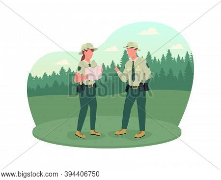 Environmental Police 2d Vector Web Banner, Poster. Forest Protection. Ranger Instructor. Police Offi