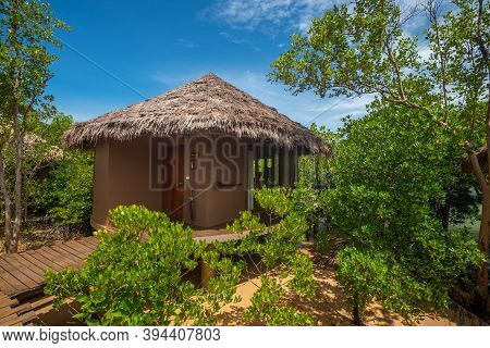 Ranong, Thailand - September 21, 2020 : View Of Small Huts In Mangrove Forest At Blue Sky Resort, Ko