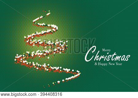 Christmas And New Year Greeting Card, Abstract Christmas Tree With Halftone Style And Green Backgrou