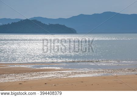 Beautiful View Of Tropical Sea Beach Over Mountains In Thailand