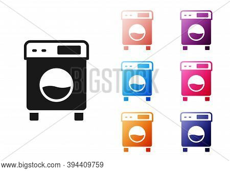 Black Washer Icon Isolated On White Background. Washing Machine Icon. Clothes Washer - Laundry Machi