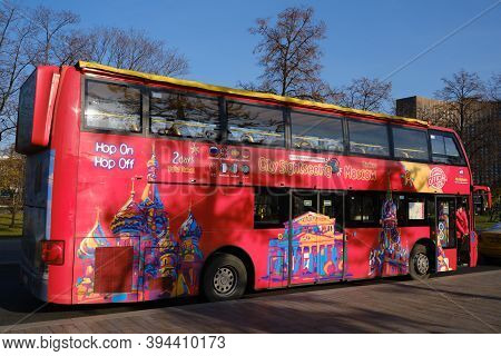 Double-decker Tour Bus For Excursions And Transportation Of Tourists On The Streets Of Moscow. Kreml