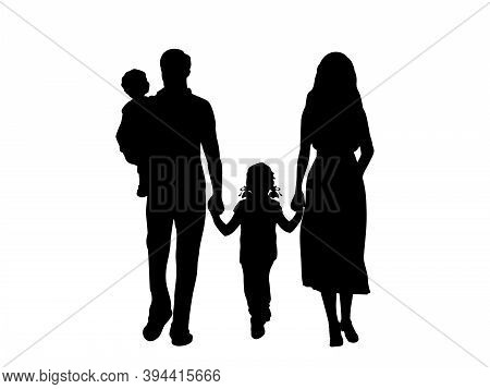 Silhouettes Of Family Father Mother Daughter And Little Son In Arms. Illustration Graphics Icon Vect