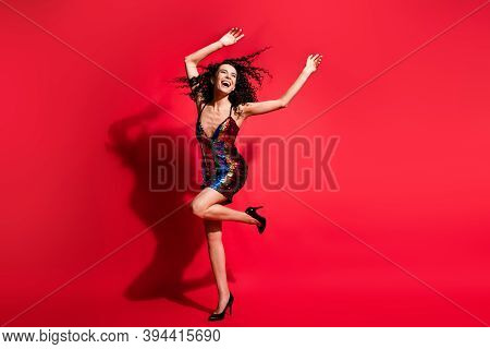 Full Length Body Size View Of Attractive Slim Ecstatic Cheerful Wavy-haired Girl Dancing Chill Out I