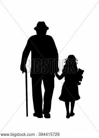 Silhouette Of Grandfather Walking With Granddaughter. Illustration Graphics Icon Vector