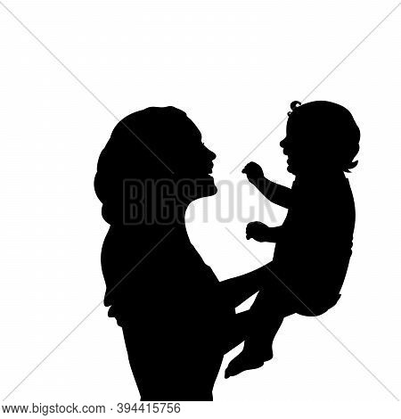 Silhouette Happy Mother Holding Newborn Baby Closeup. Illustration Graphics Icon Vector