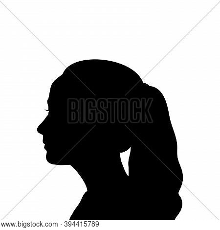 Silhouette Face Girl Close Up. Illustration Graphics Icon Vector