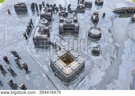 Model Of The Palace And Park Ensemble Tsaritsyno In The South Of Moscow. Museum Complex Buildings -