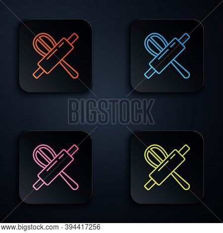 Color Neon Line Kitchen Whisk And Rolling Pin Icon Isolated On Black Background. Cooking Utensil, Eg