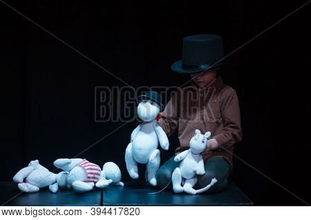 Moscow Region / Russia - 01 06 2019: Theatre Performance With Moomins Trolls. Young Boy Plays With M
