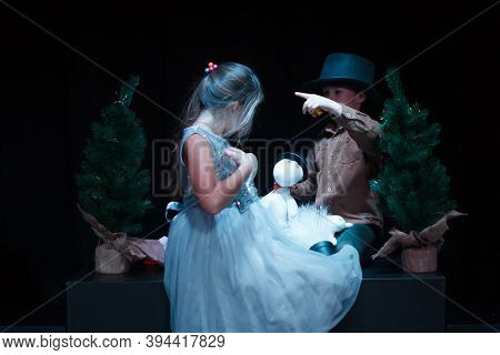 Moscow Region / Russia - 01 06 2019: Puppet Theater With Moomin Trolls. Boy And Girl Playing With Mo