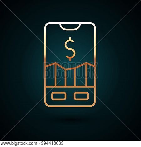 Gold Line Mobile Stock Trading Concept Icon Isolated On Dark Blue Background. Online Trading, Stock