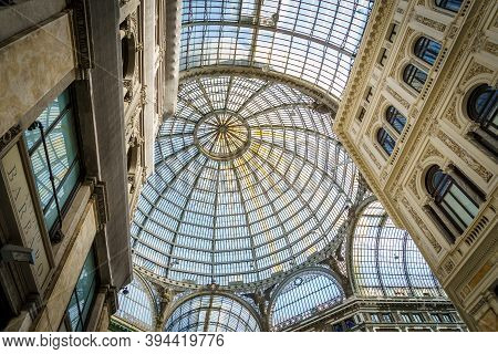 Naples, Campania, Italy, October 2020: The Glass Rooftop Of Galleria Umberto I Public Shopping Galle
