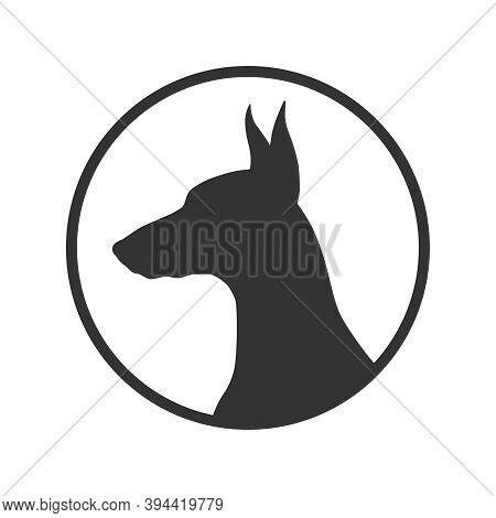 Dog Graphic Icon. Doberman Sign In The Circle Isolated On White Background. Dog Breeding Symbol. Vec