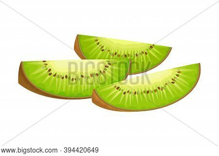 Cut Into Sections Kiwifruit Or Kiwi As Edible Berry With Fibrous Brown Skin And Green Flesh Vector I
