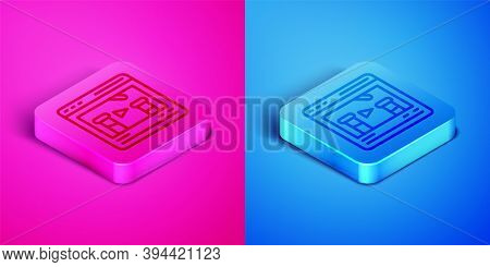 Isometric Line Chemical Experiment Online Icon Isolated On Pink And Blue Background. Scientific Expe